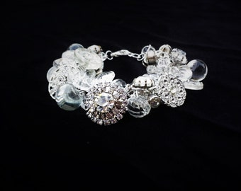 Vintage Rhinestone Button Charm Bracelet in White (Clear) and Silver
