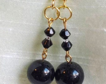 Earrings -Black Dangle Drop