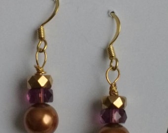 Earrings -Goldtone and Swarovski Pearl Dangle