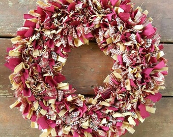 "On SALE, Rag Door Wreath in Burgundy Red Homespun and Antique Tan 15"",  Primitive Country Collection,  Handmade in NJ"