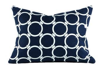 Premier Prints Navy Linked Pillow Cover, Navy & White Pillow Cover, Lumbar Pillow, Select Your Size
