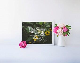 Psalm 46:1 | God Is Our Refuge Hand Lettered Encouraging Scripture Art Printable