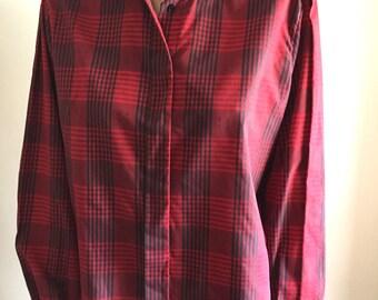 vintage red plaid blouse unique stitch fabric Diane von Furstenberg women's large blouse button down