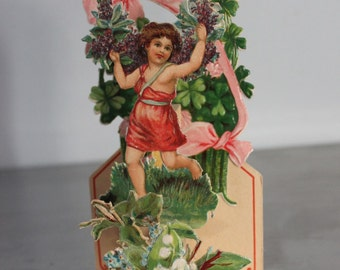 Antique Valentine pop up fold out made in Germany To my valentine 1920's four leaf clovers lily of the valley cupid red green pink James