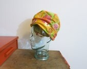Ladies Hat Turban 1960s MOD neon floral and mesh