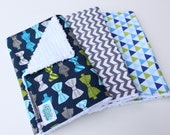 Baby Burp Cloth Set - Trio of Boy Burp Cloths - Blue and Lime Green Bow Ties, Grey and White Chevron, Triangles - Preppy Baby Boy Gift