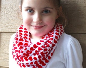 Little Girl Red and White Heart Scarf - Children's Infinity Scarf - Toddler Scarf - Little Girl's Stocking Stuffer - Valentine's Day Scarf