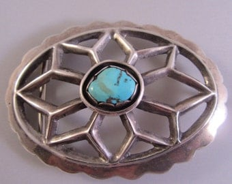 Sandcast Turquoise and Silver Belt Buckle