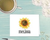 Watercolor Sunflower - Personalized Note Cards, Flower Stationery, Flower Notes, Personalized Stationery, Personalized Womens, Gifts for Mom
