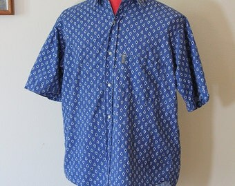 French Men's Pearl Snap Button Up Shirt // 1980s // Size Medium
