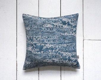 Blue Vintage Japanese Kimono Silk Fabric Pillow Cushion 'Endless Stream' (1970's)