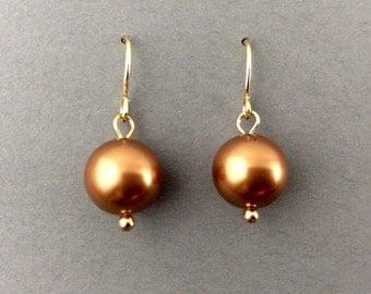 Pearl Earrings Autumn October Weddings Drop Pearl Earrings In Gold WIth Swarovski Copper Pearls