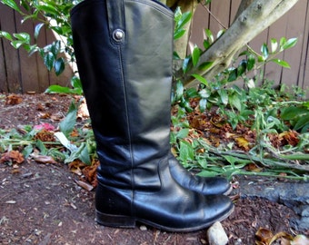 Vintage Black Leather Frye Campus Riding Motorcycle Back to School Pirate Boots Ladies 9.5