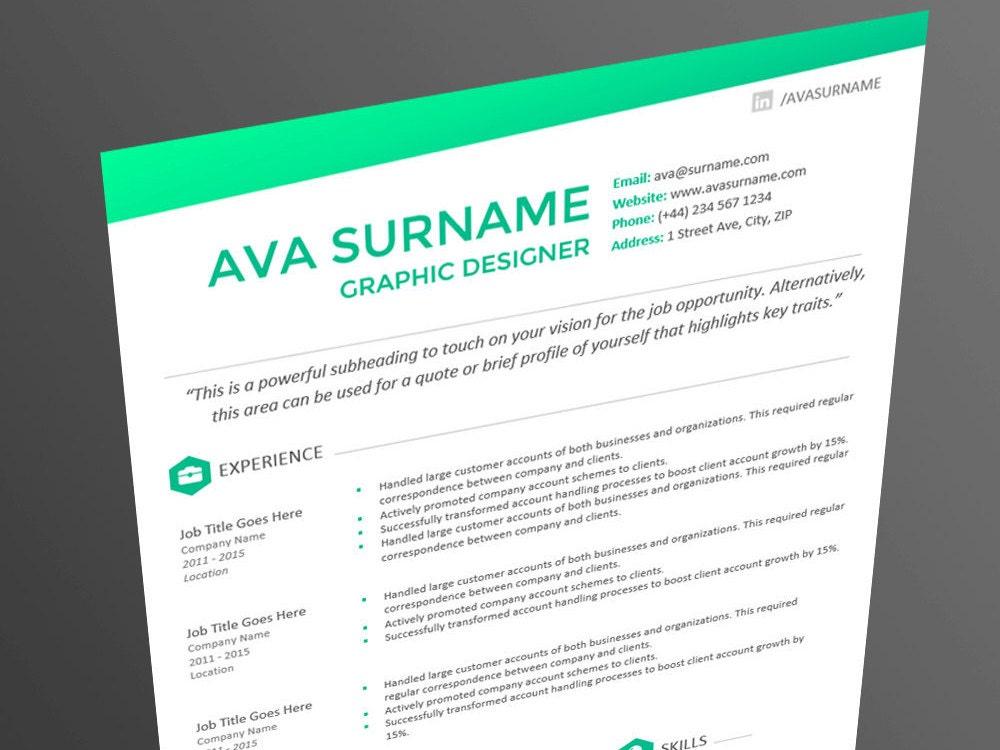 sleek modern resume cv template the ava aqua premium