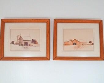2 James Hicks original framed prints barn scene