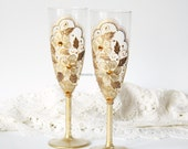 Champagne Wedding Glasses, Champagne Flutes, Toasting Glasses, Gold Lace Glasses,Vintage Wedding, Hand Painted, Set of 2