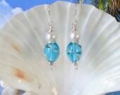 Aqua glass white pearl wire wrapped earrings beach earrings ladies gifts coastal earrings