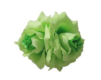 Double Green Rose Flower Hair Clip