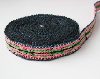 Uzbek color cotton woven trim Jiyak. Ethnic Boho, Tribal trim
