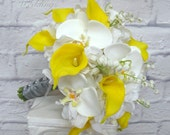 Wedding bouquet Yellow real touch calla lily white orchid lily of the valley brides bouquet