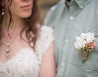 Rustic boutonniere, Cream rose twine Wedding boutonniere, Groom boutonniere, Silk boutonniere