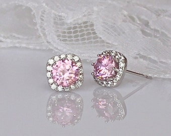 Pink Crystal Stud Earrings, Pink Blush Bridal Earrings, Pink Stud Earrings, Pink Bridemaids Earrings, RIKKI