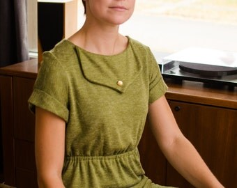 Women's Pea Green Dress with Cinched waist
