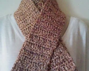 Crochet Scarf - Gold, Pink, Olive and Brown