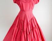1950s Pink silk taffeta full skirt evening dress / 50s raspberry tiered skirt dress - XS