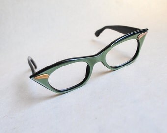 1950s Green pearlised cat eye glasses frames / 50s spectacles