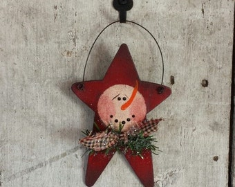 Primitive Snowman Ornament, Snowman Ornament, Painted Snowman, Country Snowman, Star Ornament, Christmas Ornament, Painted, Wood Ornament