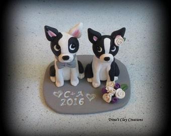 Wedding Cake Topper, Custom Cake Topper, Boston Terrier, Puppy, Cake Topper, Dog, Polymer Clay, Keepsake