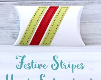 Unique Packaging - Festive Stripes - Handmade Holiday Gift Wrap - Hand Embroidered Gift Boxes - Small Gift Box - Gift Card Holder