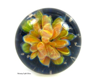 17mm Golden Bouquet,  Boro Lampwork, Glass Cabochon,  Focal Bead, Frit Implosion, Jewlery Supply