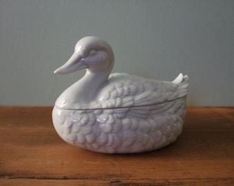 Vintage White Duck Lidded Dish Porcelain