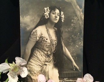 Real Photo Postcard - Anny or Aenne Hindermann - Opera Singer - Lakme - Woman with Beads and Flowers