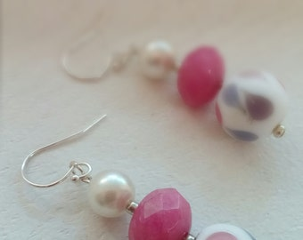 Pink and multi-colored bead earrings