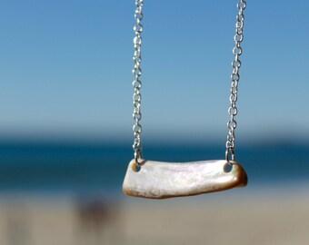 Iridescent Abalone Horizontal Short Chain Necklace
