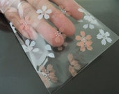 Clear Plastic Bags Self Adhesive Plastic Transparent Small Gift Bag with Pastel Peach and White Flower 48pcs