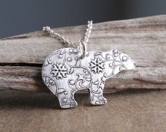 Silver Polar Bear Necklace, Fine Silver Flowering Vine Polar Bear, Sterling Silver Chain, Made To Order