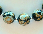 NEW Set of 5 Japanese Tensha Beads Antique White Rose on Black in 12 MM