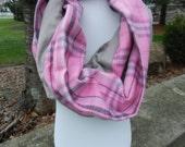 Infinity Scarf - Pink Plaid w Grey Flannel