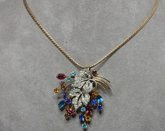 Signed CRC 12k Gold Filled Colorful Rhinestone Convertible Pendant / Brooch    NBR28