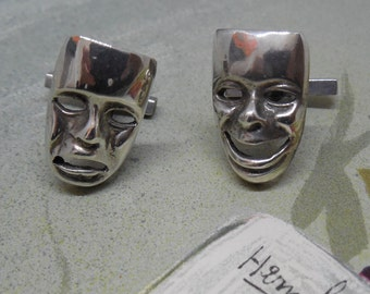 Signed Mexico Silver Cufflinks Comedy & Tragedy Masks Drama Theater Thespian