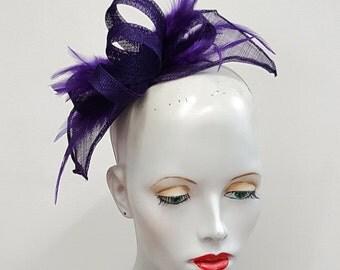 Purple sinamay and feather fascinator - headband fixing - wedding races hat - purple hat