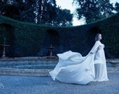 Weding cape bridal cloak white ivory satin cape with hood handfasting