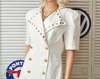 Vintage Womens 80s Dress/White Denim/Gold Buttons & Studs Nautical/Big Shoulder Pads/Tripp NYC/Cotton/Mini Skirt Rockstar/Junior Petite Med