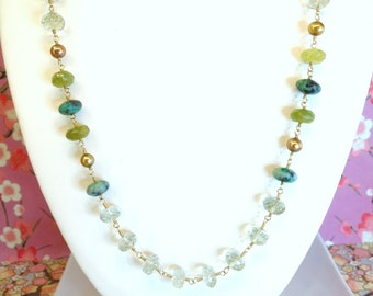 Green Amethyst Tourmaline Rosary Gold Pearl Gold Necklace, Green Amethyst Garnet Boho Statement Necklace, green wedding boho chic necklace