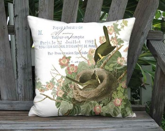 Roses and Birds Nest Pillow Cover - French Linen Cotton Sweet Briar Rose Cushion Cover - 16x 18x 20x 22x 24x 26x 28x Inch Pillow