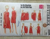 "Butterick 4699 Size Medium 34"" - 36"" bust Vintage 1960s sewing pattern wraparound dress"